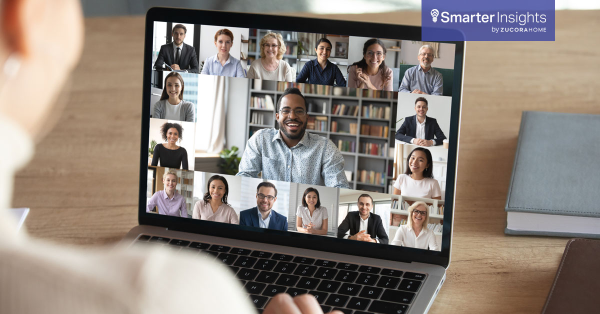 Man having a virtual meeting with team on a laptop